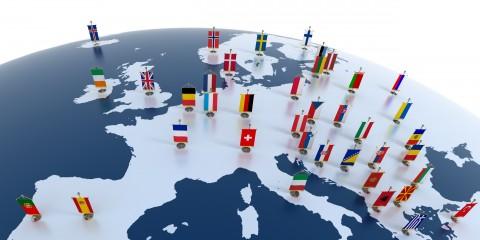 Europa Länder Fahnen