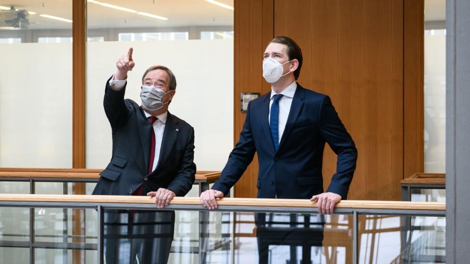 Ministerpräsident Laschet und Bundeskanzler Kurz in der NRW-Landesvertretung in Berlin