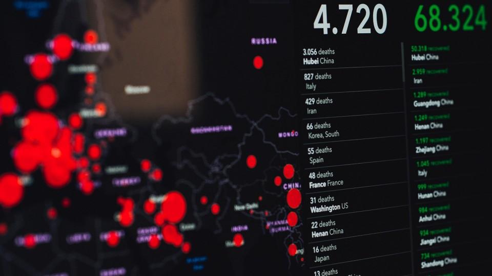 Corona Statistik Bildschirm
